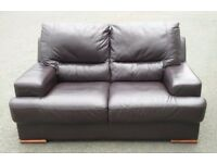 Modern look 2 seater real leather dark brown sofa / FREE DELIVERY