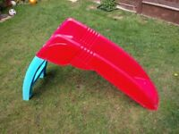 Small plastic slide red and blue