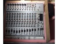 Behringer Eurorack MX2004A audio mixer with new power supply and heavy duty flightcase