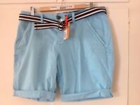 Superdry shorts blue with belt, size L
