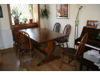 Old Charm Oak Refectory Dining Table and 6 wheelback chairs