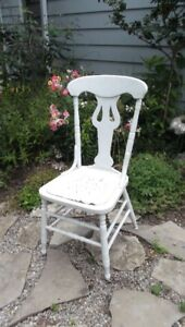 Shabby Chic Antique Solid White Wood Chair Planter Porch