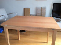 Modern Style Extendable Wooden Beech Veneer Dining Table Only For Sale No Chairs