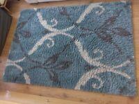 High Pile Shaggy Rug Blue Pattern 125x175cm Large