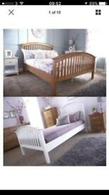 Madrid Wooden Bedstead Very good bargain today king-size oak £70 price