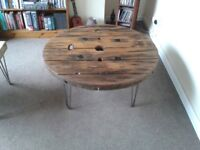Handmade Industrial Cable Reel Drum Coffee Table