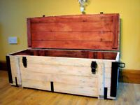 Military Box Trunk Storage Wooden Rustic Coffee Table Chest Painted - off white
