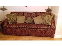 Fabulous Red/Gold ornate fabric 3/4 seater sofa