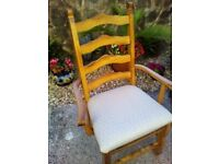 Set of six dining chairs including two carvers, re-covered seat pads, unused, great condition.