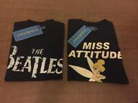 Ladies t-shirt in black the Beatles and tickerbell miss attitude