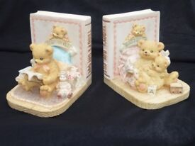 Pair of Childrens Book Ends Titled Teddy's Day Out Vintage Retro Nursery Bears