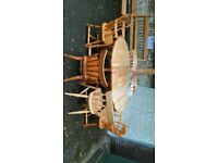 Solid Pine Dining Room Gateleg Extendable Drop Leaf Table and 6 Pine Chairs
