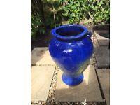 Tall Blue Glazed Garden Pot - very attractive on a patio
