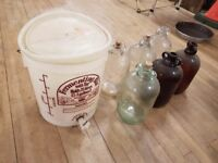 Job lot of home brew glass demijohns