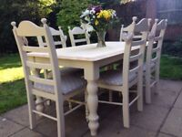 Fabulous Shabby chic 6ft table & chairs - Cream