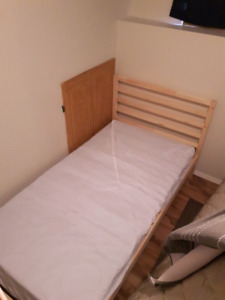 IKEA twin bed, mattress and protector like new