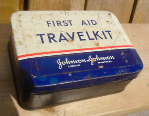 VINTAGE 1940-50's JOHNSON & JOHNSON FIRST AID TRAVELKIT TIN