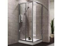 New Unused, B&Q PLUMBSURE CHROME SQUARE SHOWER ENCLOSURE WITH BI-FOLD DOOR (W)800MM (D)800MM