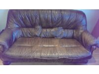 Real Leather Excellent Condition Oak 3 Seater Sofa