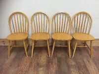 four beech light solid wood chairs