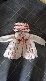 Girls knitted cardigan and hat newborn to 6 months