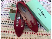 Red Ballet Shoes Flat Pumps Size 7
