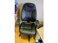Black Genuine Leather Ergonomic Executive Office Chair (Adjustable Height and Armrests with Swivel)