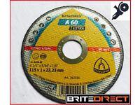 Box of 25 KLINGSPOR A60 Extra Cutting discs wheels 115 x 1 x 22.23 (4.5')inox steel