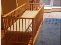 Child Cot with Matress - Rarely used