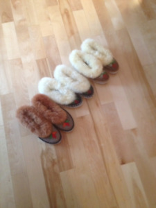 ladies Polish leather and wool slippers