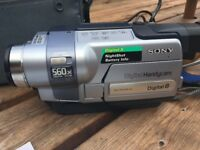 Sony digital handicam (video camera) with case, charger and instructions