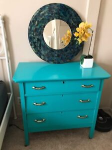 Antique dresser and side table (hand painted in Teal)
