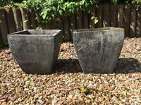Grey Square matching garden pots