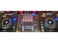 2 pioneer cdj 1000 mk3 decks and denon dnx 1500 4 channel mixer