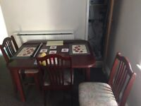 WOODEN SQUARE TABLE INCLUDING 6 CHAIRS