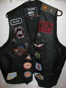 3 leather motorcycle vests with patches good condition $50 each