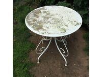 WHITE METAL DECORATIVE GARDEN TABLE...
