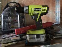 Ryobi One+ Cordless 18V Li-Ion Drill and 50 Piece Drill Bit Set