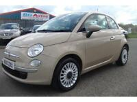 2013 13 FIAT 500 1.2 LOUNGE BEIGE 3DR S/ROOF ALLOYS 1 OWNER