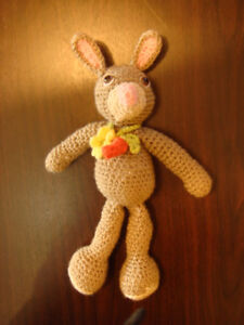 Hand Crafted by Ana Tricot Adorable Bunny with carrot for Baby