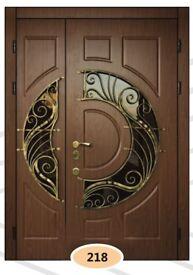 Luxury security double doors. Wood finish steel frame