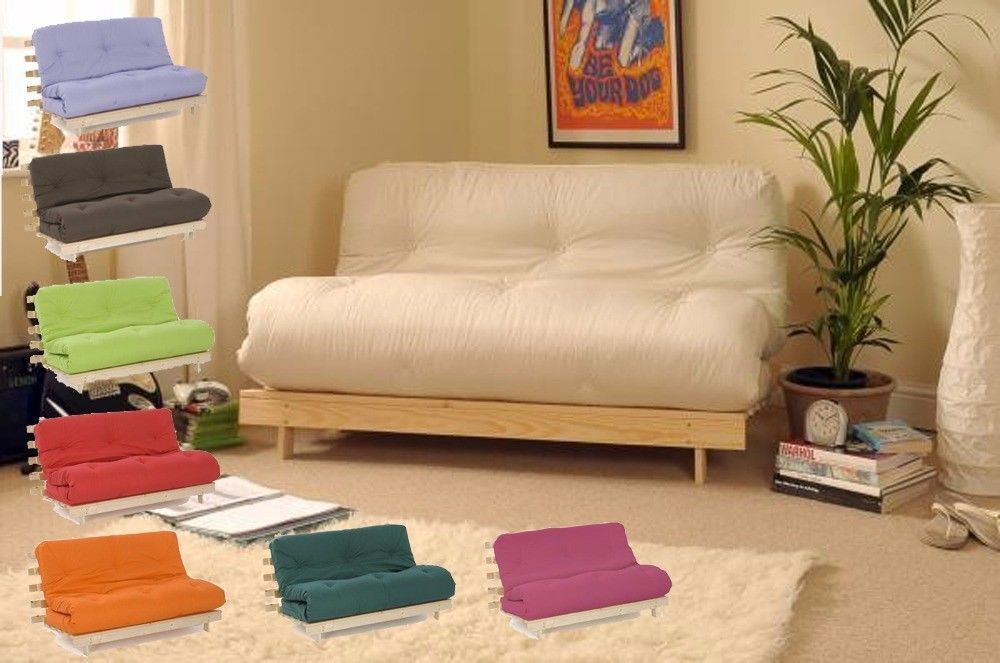 Small Double 4ft Luxury Futon Wooden Sofa Bed