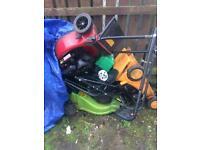 3 broken petrol lawnmowers