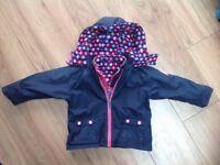 JoJo maman bebe girls 2 piece coat/rain jacket (12-18mths)
