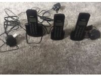 3 Panasonic home phones, wireless with 3 charging stands and plugs brand new great condition £20