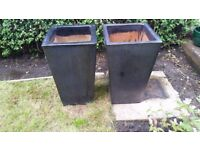 Pair of garden pots / planters glazed terracotta