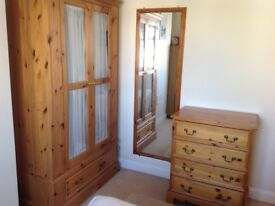 Pine bedroom furniture for sale. Bed, wardrobe chest of drawers and bedside tables