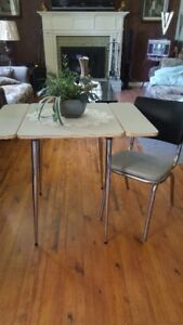 Retro Chrome Table and Chair