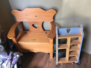 Deacon bench and wooden shelf