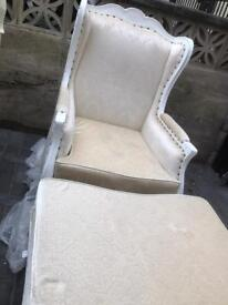 Beautiful wingback timeless chair with foot stool as new